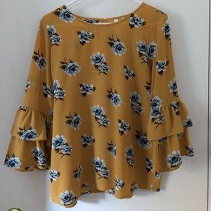 mustard & light blue floral shirt